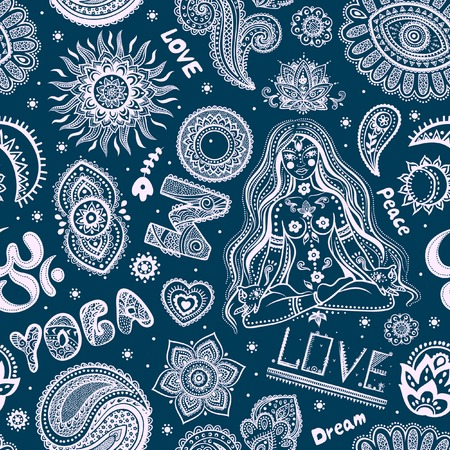 beautifull: Beautifull seamless yoga pattern with ornaments and signs
