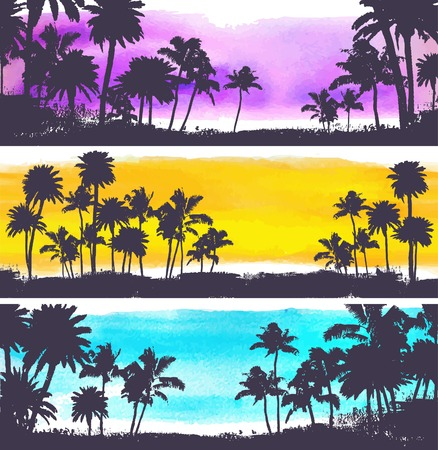 tree silhouettes: Vector Palm trees illustration