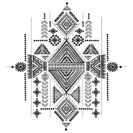 indian ink: Tribal vintage ethnic background Illustration