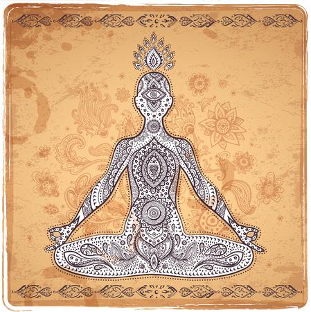 aura energy: Illustrazione vettoriale Vintage con una posa di meditazione