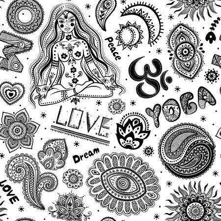 Beautifull seamless yoga pattern with ornaments and signs Vector
