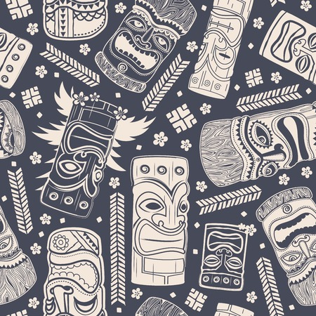 Vintage Aloha Tiki seamless pattern for your business