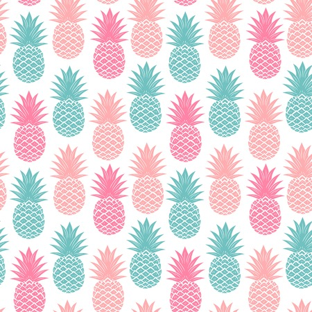 pastel backgrounds: Vintage multicolor pineapple seamless for your business Illustration