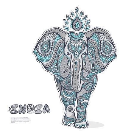 arabesco: Ilustración del vector del elefante de la vendimia para su negocio Vectores