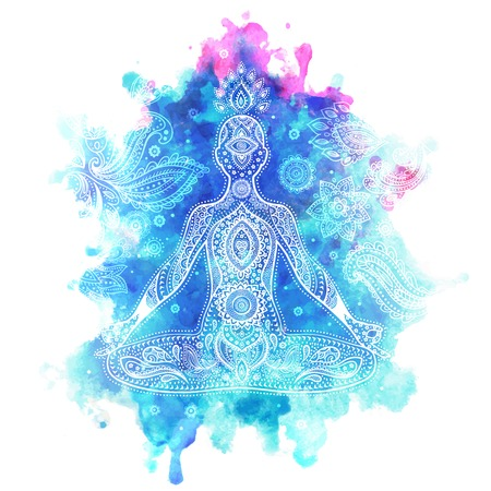 chakra energy: Set of ornamental Indian elements and symbols