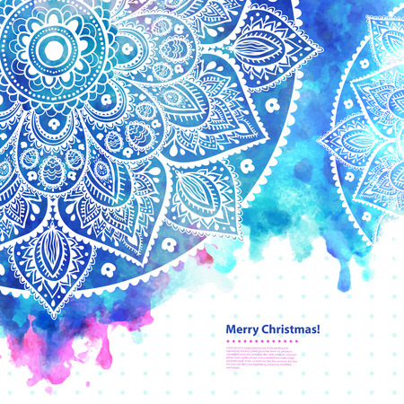 Beautiful Indian Lace ornament with a watercolor background can be used as a Christmas greeting card