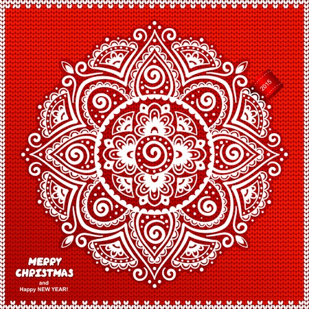 Beautiful Christmas lace ornament with a knitted background can be used as a greeting card