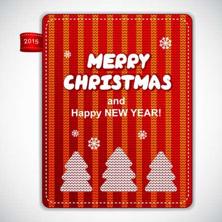albero pino: Etichetta albero di pino rosso maglia di Natale pu� essere usato come un biglietto di auguri