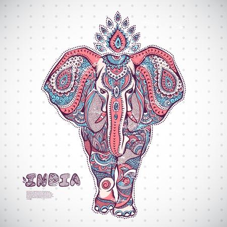 Ilustración del elefante de la vendimia se puede utilizar como una tarjeta de felicitación Foto de archivo - 33625842