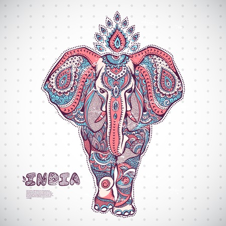 orient: Vintage elephant illustration can be used as a greeting card