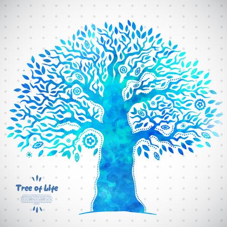 삶의 아름다운 고유 벡터 수채화 민족 트리 일러스트