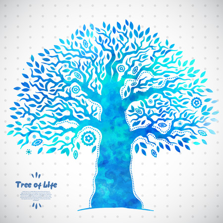 Beautiful Unique vector watercolor ethnic tree of life Ilustração
