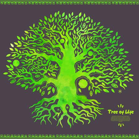 arbol de la vida: Beautiful vector �nico de la acuarela del �rbol de la vida �tnica