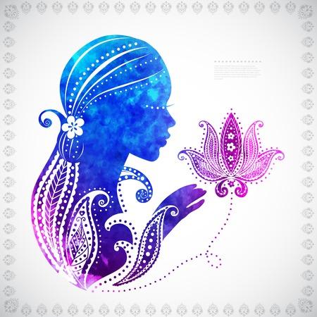 いくつかの花の装飾と美しい水彩女の子シルエット  イラスト・ベクター素材