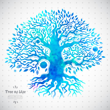 tree of life silhouette: Beautiful Unique ethnic tree of life illustration