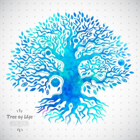 arbol de la vida: Hermoso �rbol �tnico �nico de ilustraci�n vida
