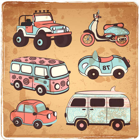 cartoon bus: Retro vector cars icons set for your business Illustration