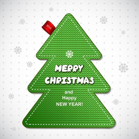 albero pino: Etichetta pino rosso maglia di Natale pu� essere usato come un biglietto di auguri Vettoriali