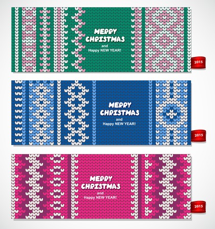 Beautiful Christmas set of banners with lace ornaments and knitted background can be used as a greeting cards