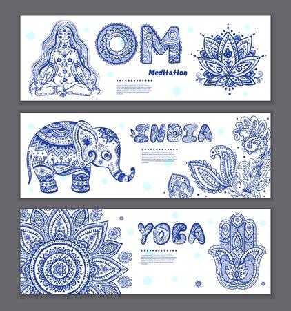 Set di elementi indiani ornamentali e simboli Archivio Fotografico - 35284186