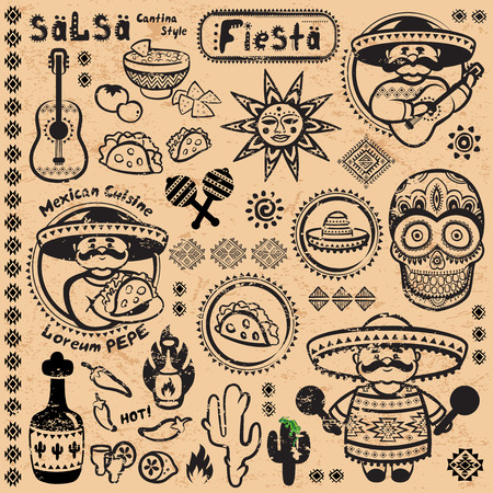 mexican party: Set of Mexican vector symbols for your business Illustration