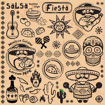 Set van Mexicaanse vector symbolen voor uw bedrijf