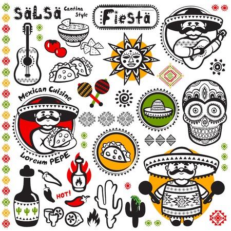 bailar salsa: Conjunto de s�mbolos de vector mexicanos para su negocio Vectores