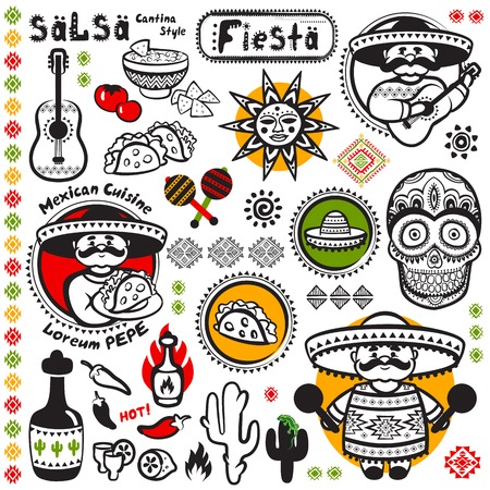 Set of Mexican vector symbols for your business Çizim