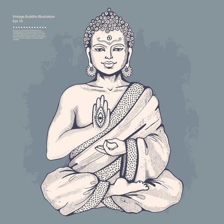 Vintage illustrazione vettoriale con Buddha in meditazione Archivio Fotografico - 35391665