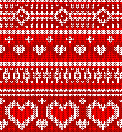 warm clothes: Valentines seamless vector knitted pattern with hearts for your business Illustration