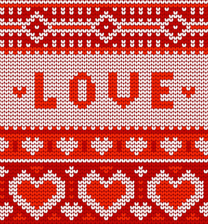 Valentines seamless vector knitted pattern with hearts for your business Vector