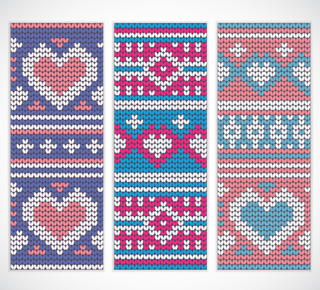 Valentines seamless knitted banners with hearts for your business Ilustrace