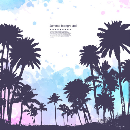 tree silhouettes: Vector Palm trees illustration for your business Illustration