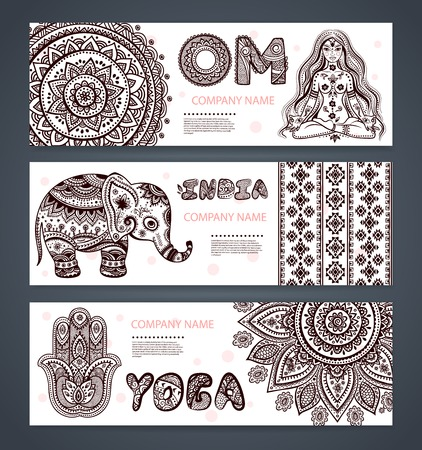 woman meditation: Vector set of banners with ethnic and yoga symbols for your business Illustration