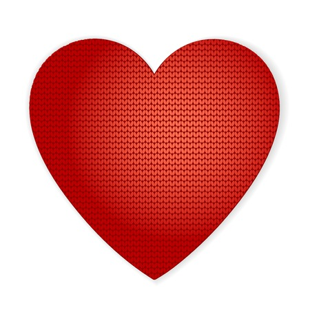 Vector Valentines knitted heart can be used as a greeting card