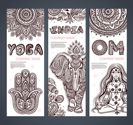 thailand symbol: Vector set of banners with ethnic and yoga symbols for your business Illustration