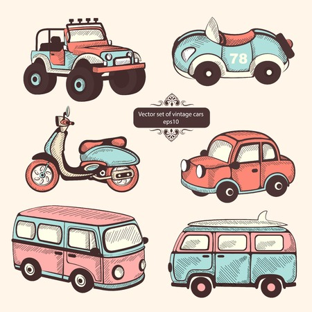 Retro cars icons isolated set for your business Vector