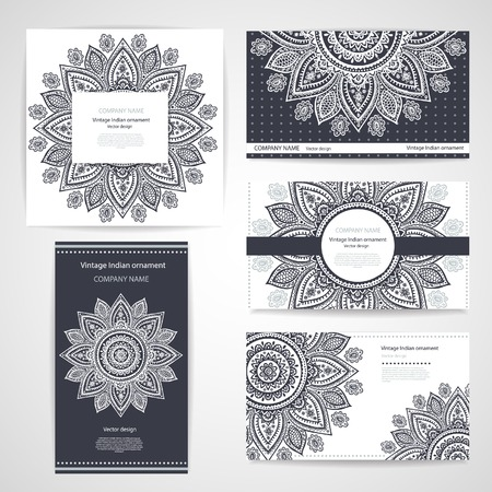 business cards: Set of banners with floral Indian ornaments can be used as a business cards
