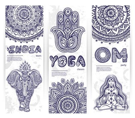 bouddha: Vector ensemble de banni�res avec des symboles ethniques et de yoga pour votre entreprise