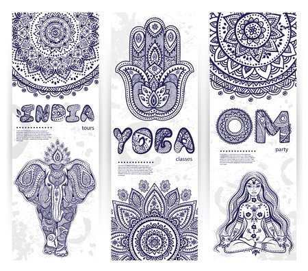 Vector set of banners with ethnic and yoga symbols for your business Çizim