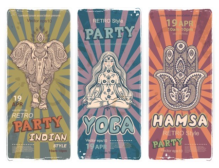 buddha hand: Vector set of banners with ethnic and yoga symbols for your business Illustration