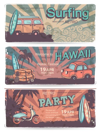 postcard: Vintage summer and travel banners for your business