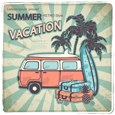 Retro illustration with old fashion bus for your business