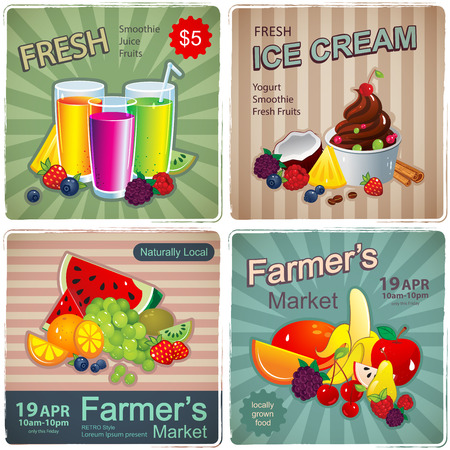 Hand drawn set of vintage fruit banners for your business Illustration