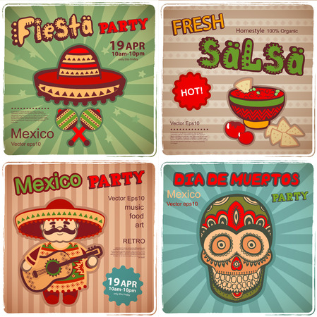 Vector Set of retro banners with Mexican symbols Çizim