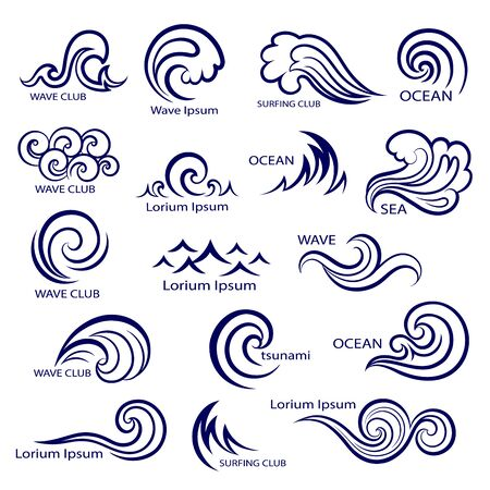wind surfing: Set of isolated wave icons for your business