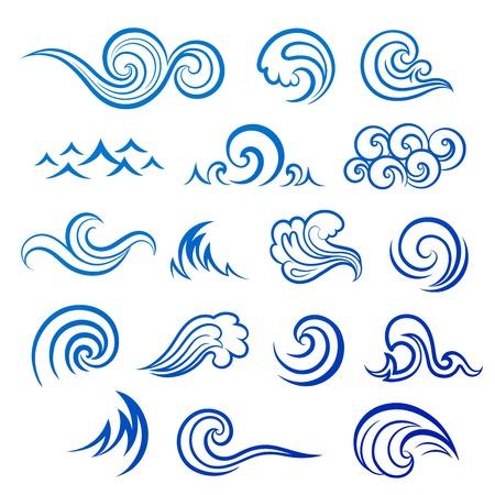 olas de mar: Conjunto de iconos de onda aislados para su negocio Vectores