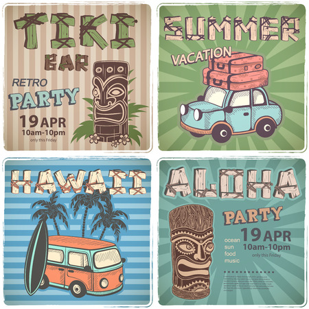 tiki bar: Set of Retro Hawaiian banners  for your business Illustration