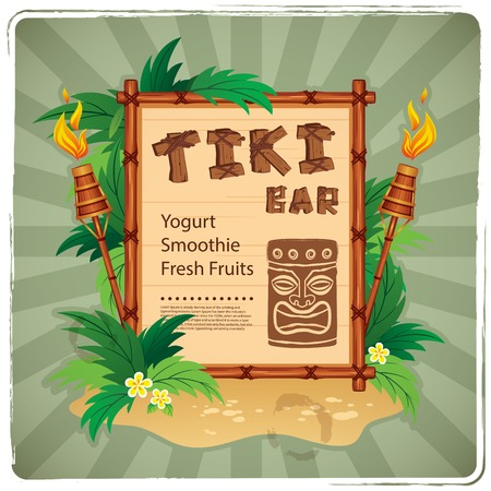 tiki party: Vector Retro Tiki bar sign for your business Illustration