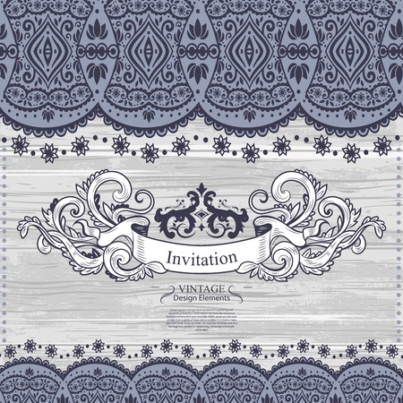 white background: Wedding vector Invitation with a lace decoration for your business